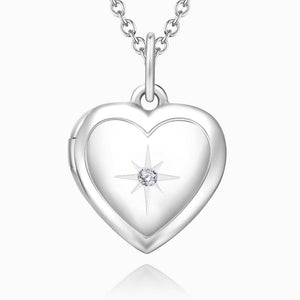 Star Printing Photo Locket Necklace Platinum Plated