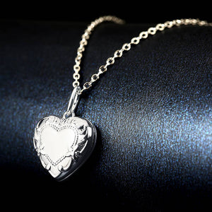 Embossed Heart Photo Locket Necklace With Engraving Platinum Plated