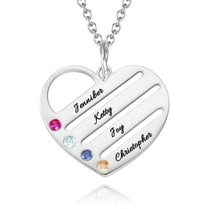 Personalized Birthstone With Engraving Heart Necklace