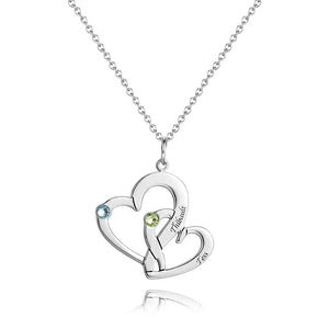 Heart in Heart Necklace With Birthstone 14K Gold