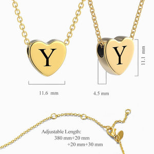Engraved Heart Initial Necklace 14k Gold Plated
