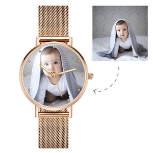 Engraved Photo Watch with Luminous Pointer Rose Gold Alloy Bracelet Photo Watch 40mm - Unisex