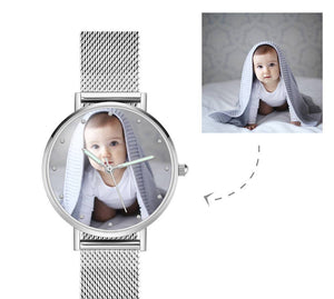 Engraved Photo Watch with Luminous Pointer Alloy Bracelet Photo Watch 36mm - Women's