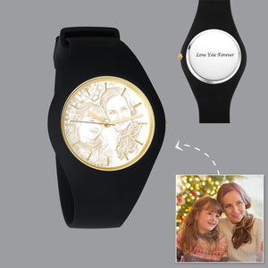 Men's  Silicone Engraved Photo Watch Men's Engraved Photo Watch  41mm Black Strap - Golden