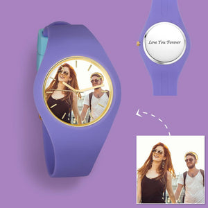 Women's  Silicone Engraved Photo Watch Women's Engraved Photo Watch  41mm  Purple Strap