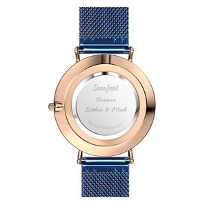 Photo Engraved Watch Personalized Photo Watch with Blue Strap - Women