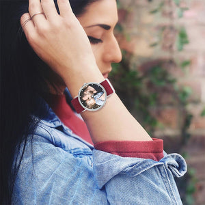 Photo Engraved Watch, Custom Your Own Photo Watch with Red Strap - Women