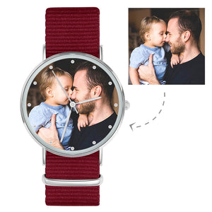 Photo Engraved Watch Custom Your Own Photo Watch with Red Strap - Women