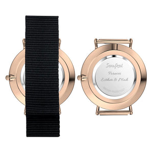 Photo Watch - Personalized Engraved Watch Black Strap For Couple