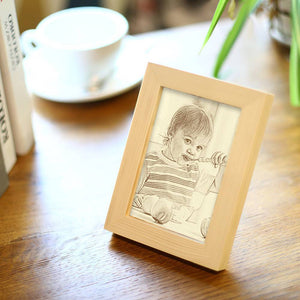 Custom Baby Photo Wooden Frame Home Decoration Sketch Effect - 5 Inches