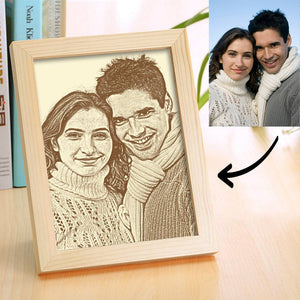 Personalized Lover Photo Frame Wooden Sketch Effect Home Decoration - 8 Inches