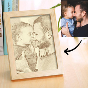 Personalized Family Photo Frame Wooden Home Decoration Sketch Effect - 10 Inches