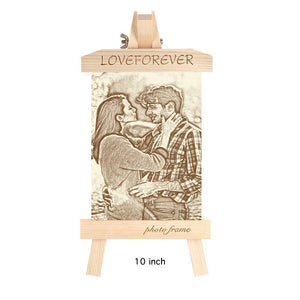 Wooden Custom Photo Frame Easel Home Decoration Sketch Effect - 10 Inches