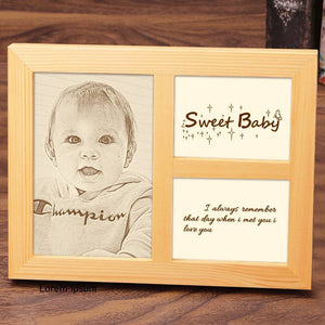 Personalized Baby Photo Engraved Frame Home Decoration Wooden Sketch Effect - 8 Inches