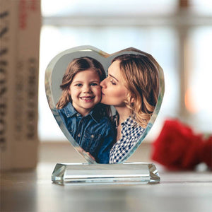 Gifts for Mom Custom Crystal Photo Frame Heart-shaped Illuminate Keepsake Gift