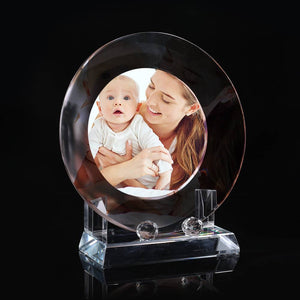 Gifts for Mom Custom Crystal Photo Frame Round-shaped Keepsake Gift