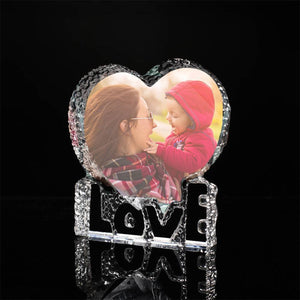 Gifts for Mom Custom Crystal Photo Frame Heart-shaped with Love Keepsake Gift - 100mm