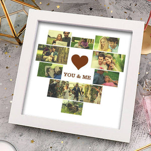 Personalized Couple Photo Frame 9 Pictures with Heart Shape