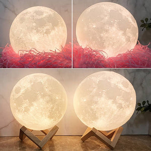 Touch Double Colors - Christmas Gifts For Lover Engraved Photo Moon Lamp