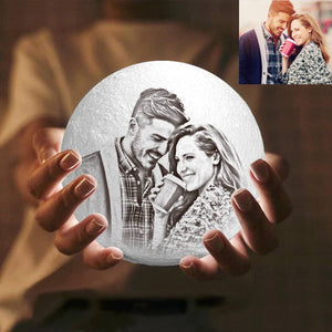 Touch 3 Colors - Engraved Photo Moon Lamp