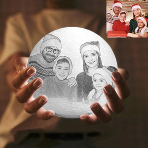 Pat 3 Colors - Christmas Gift For Family Engraved Photo Moon Lamp