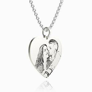 Women's Heart Photo Engraved Tag Necklace Silver