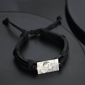Men's Rectangle Photo Engraved Tag Bracelet Black Leather Strap