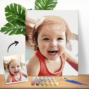 DIY Paint by Numbers, Custom Baby Photo Wall Decor Oil Painting Canvas