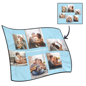 Custom Perfect Love Fleece Photo Blanket with 6 Photos