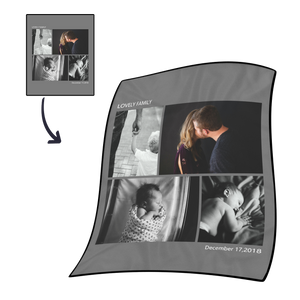 Family Love Personalized Fleece Photo Blanket with 4 Photos