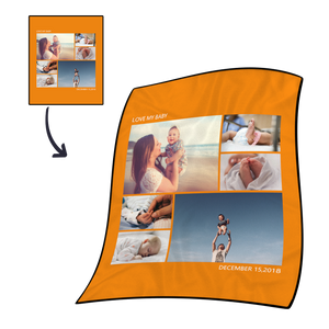 Personalized Kids Fleece Photo Blanket with 6 Photos