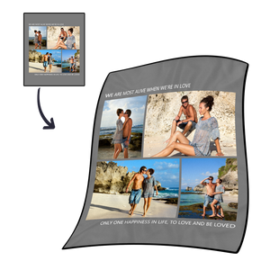 Gifts for Mom Custom Photo Fleece Blanket Family is All Multiphoto