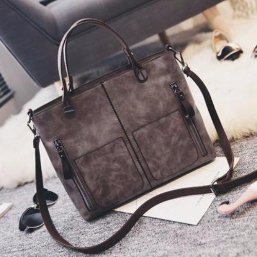 Double-Pocket - Leather Handbag