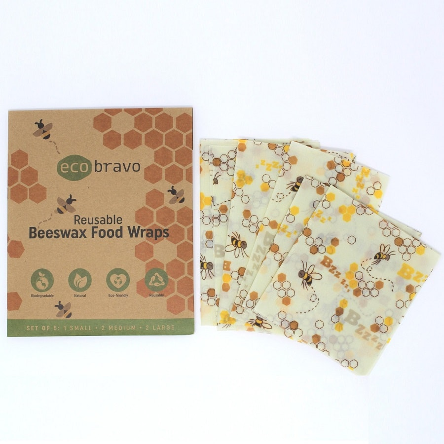 Reusable Beeswax Food Wraps Set of 5
