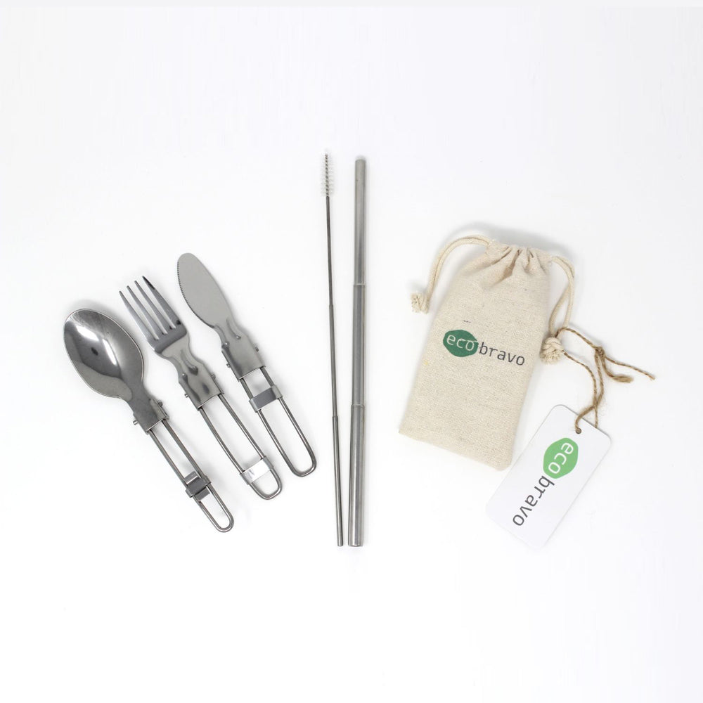 Portable Folding Travel Cutlery Set with Bag