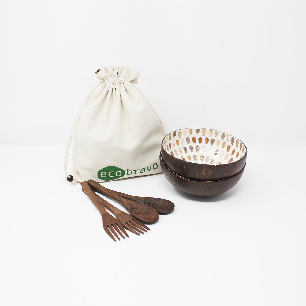 2 Coconut Bowls with Spoons Forks + Bonus Reusable Bag