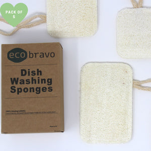 5 Pack Natural Dish Washing Sponges - Natural Loofah