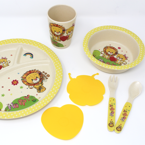 Eco-Friendly Kids Bamboo Dinner Set - Lion