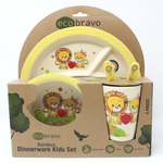 6 Pcs Eco-Friendly Kids Bamboo Dinner Set - Lion