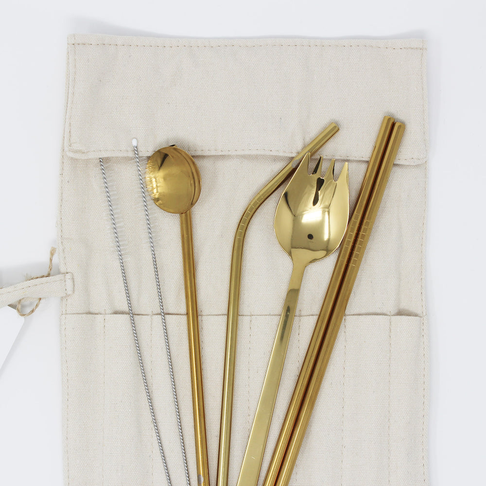 7 Pcs Gold Portable Cutlery Set