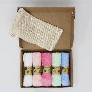 5 Pack Reusable Bamboo Cotton Cleaning Cloths with Mesh Bag