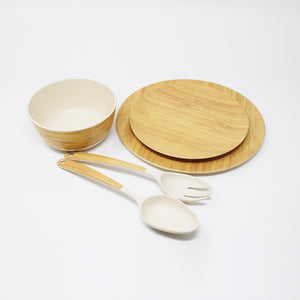 5 Piece Bamboo Dinnerware Set