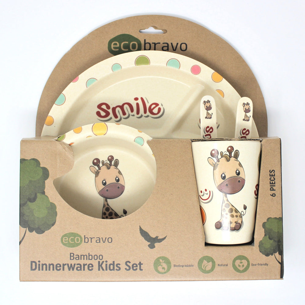 6 Pcs Eco-Friendly Bamboo Dinnerware Kids Set - Giraffe