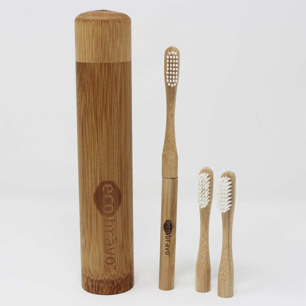 Bamboo Toothbrush + 2 Replacement Heads