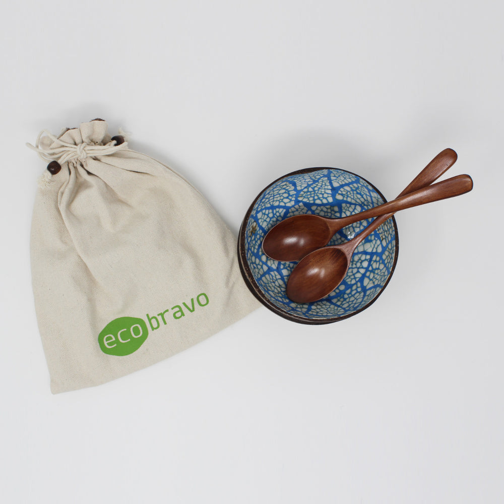 Coconut Bowls Set of 2 with 2 Spoons + Bonus Reusable Bag