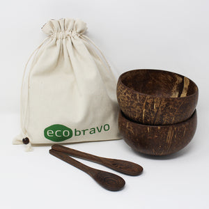 Natural Coconut Bowls with Dark Spoons