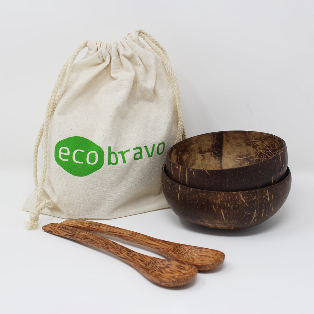 Set of 2 Natural Coconut Bowls + Bonus Reusable Bag
