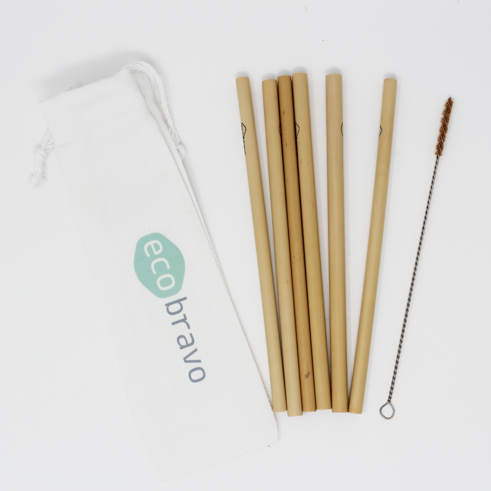 Bamboo Reusable Drinking Straws Pack of 6
