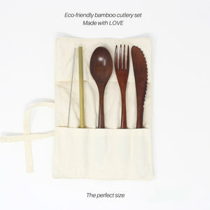 5 Pcs Reusable Bamboo Cutlery Set with Case