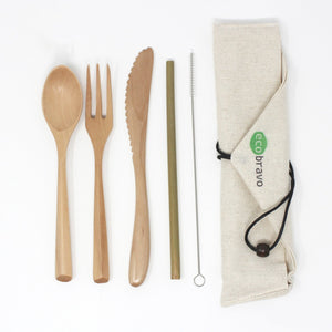 5 Pcs Reusable Bamboo Cutlery Travel Set (Light)